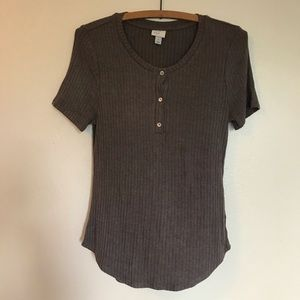 A New Day brown soft ribbed tee
